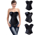 Black Plastic Bonded Faux Leather Overbust Burlesque Zipper Or Buckles Sexy Corset Top Corsets And Bustiers Plus Size S-6Xl