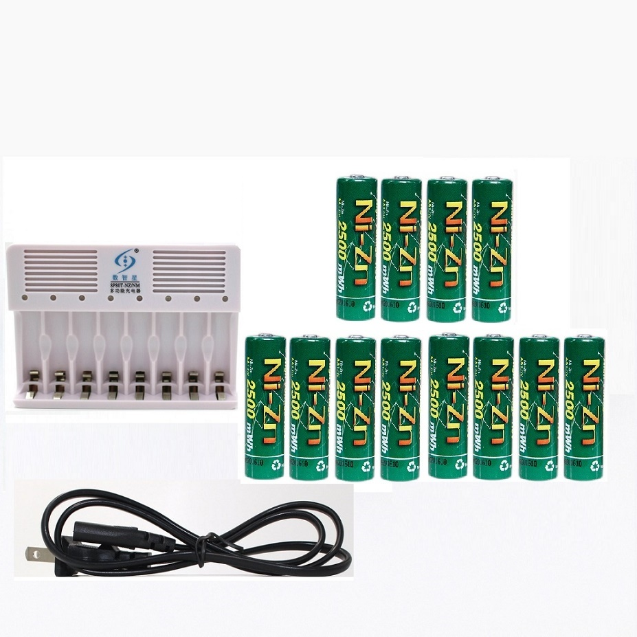 12Pcs NiZn Ni-Zn 1.6V AA 2500mWh Rechargeable Battery + 8 ports Ni-Zn NiMH AA AAA battery Charger цена 2017
