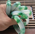 100% Natural High Quality Green float flower jade Bangles grade A Pure Natural Jade Bangle Bracelet Natural Stone Womens Bangles