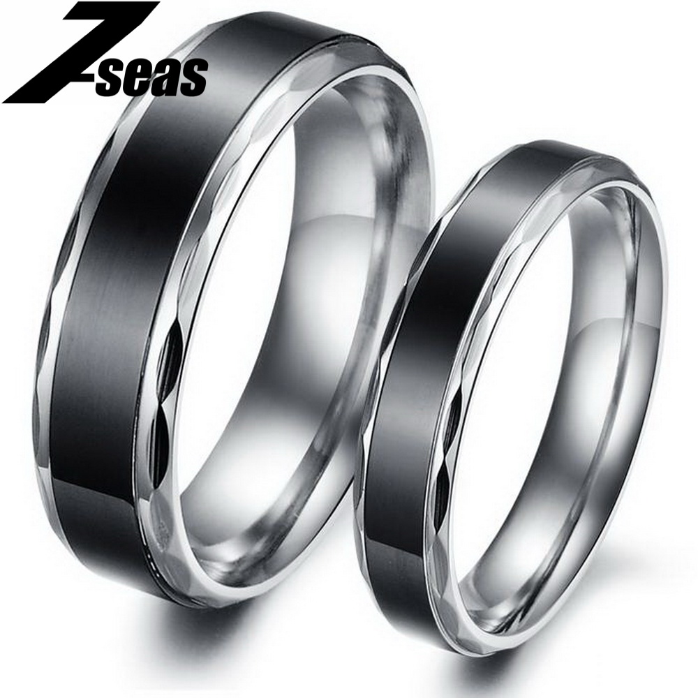 1 Piece Price Fashion New Arrival Stainless Steel Lover Couple Ring Black Concise Vintage Finger Jewelry 293