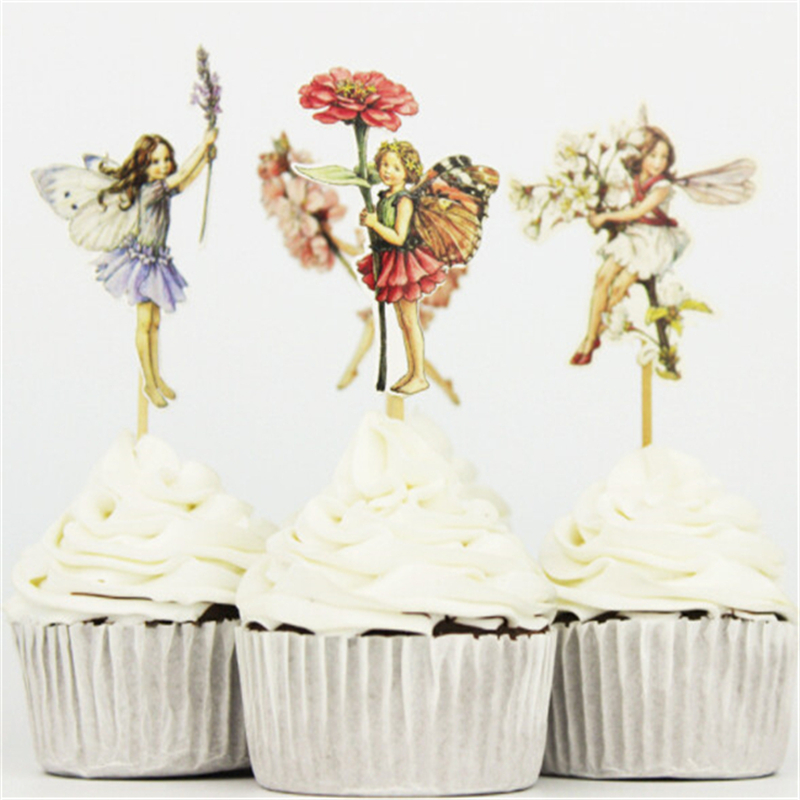 24pacset Flower Fairy Party Cupcake Topper Happy Birthday Party Baby Shower Children Party Decor Kids Cake Decor Supplies