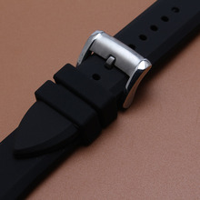 Mans Watchband 23mm black soft rubber watch strap bracelet accessories silver stainless steel pin buckle deployment