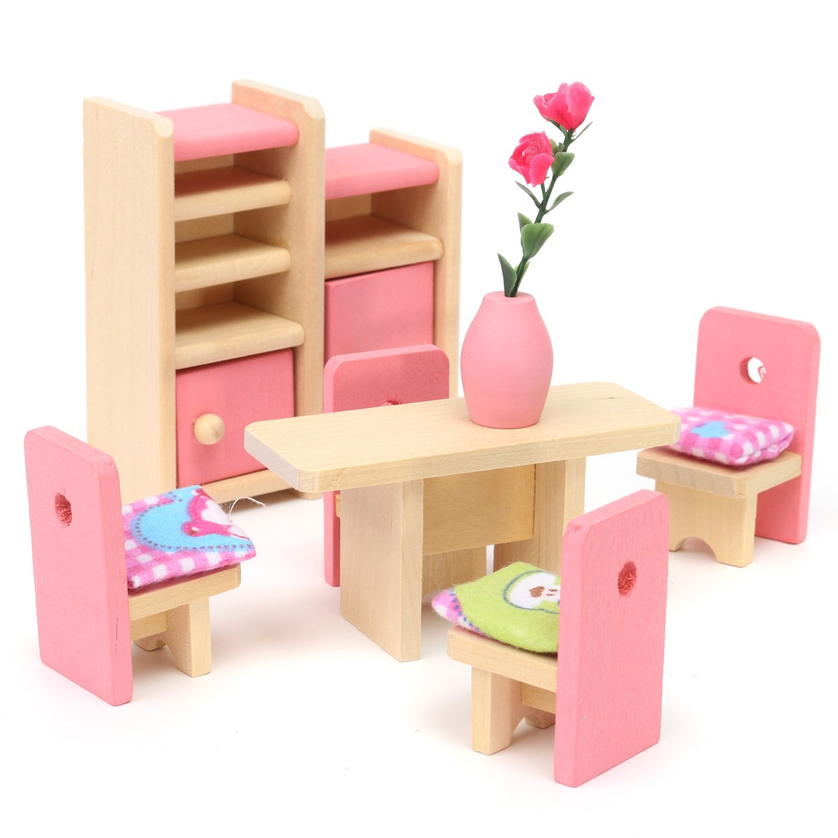 Wooden Delicate Dollhouse Furniture Toys Miniature For Kids Children Pretend Play 6 Room Set 4