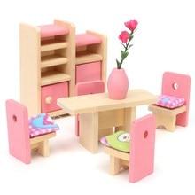 Тонкий деревянный Кукольный Домик Мебель Игрушки Миниатюрные Для Дети Дети Притворись Play 6 Room set/4 Куклы Игрушки