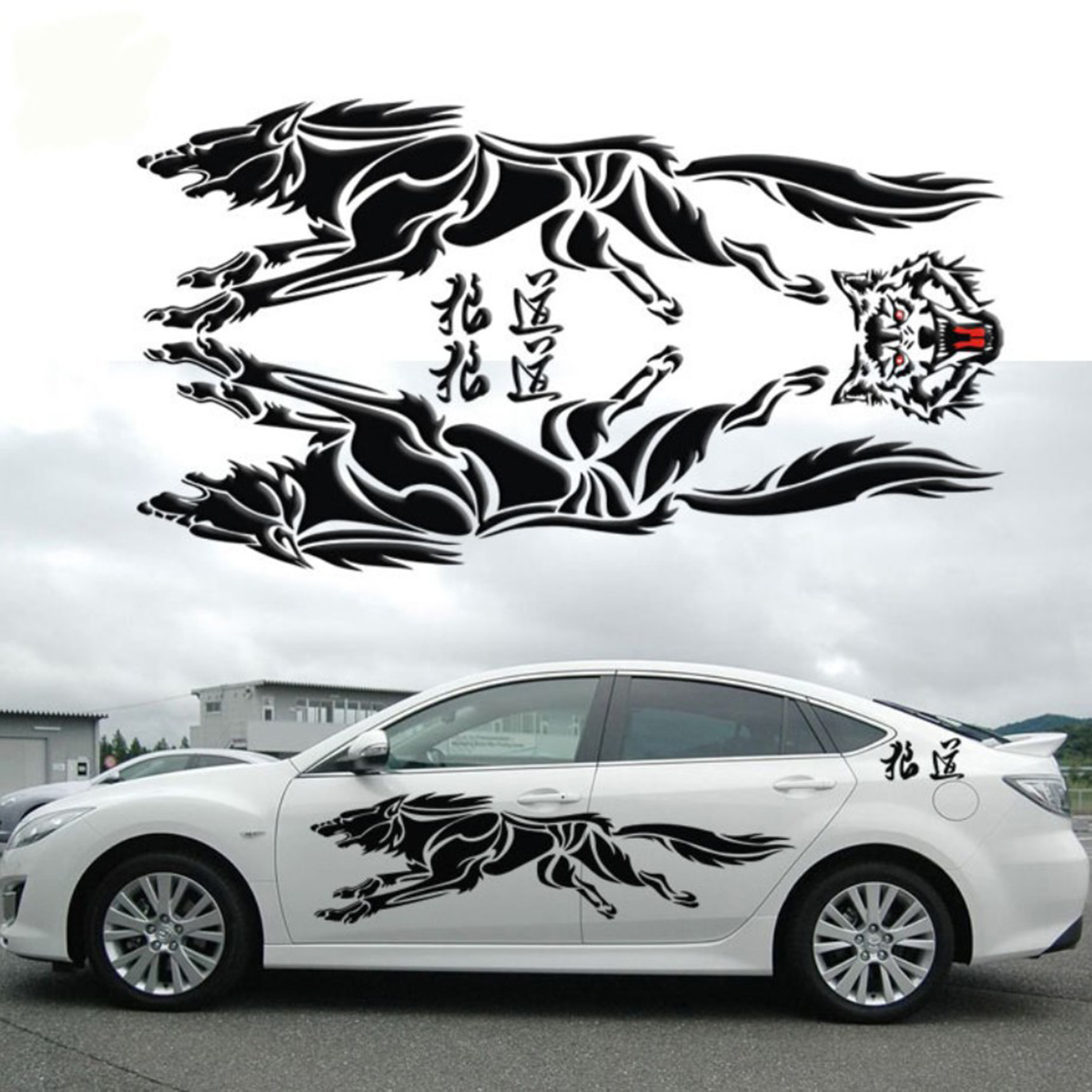 Car full body sticker design - Modified Vehicle Applique Full Car Body Garland Decorative Wolf Totem Stickers For Bmw Honda Toyota Hyundai