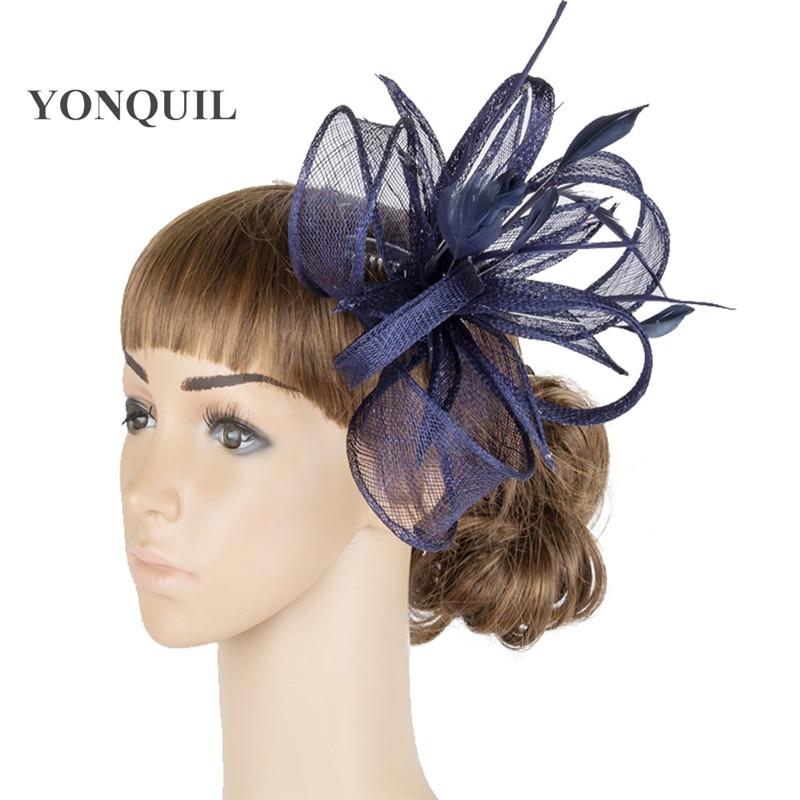 Желтая Свадебная расческа для волос sinamay, аксессуары для волос, Популярные головные уборы для женщин, вечерние головные уборы - Цвет: Тёмно-синий