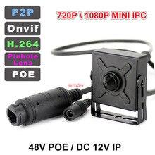 1080P veya 3MP 48V POE IPC veya DC 12V IP ağ kamerası 3.7mm peephole Lens küçük metal kasa mini IP kamera