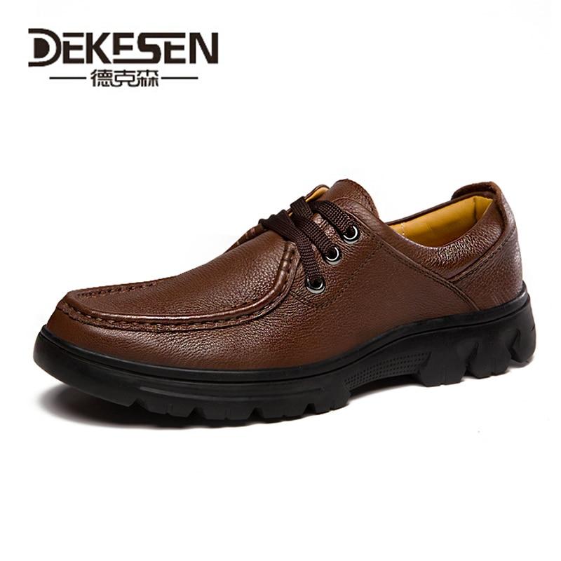 Здесь можно купить   DEKESEN Brand Camel Genuine Leather Men Shoes, Casual Soft Working Oxford For Men, Big Size Mens Walking Flats Shoes Hot Sale Обувь