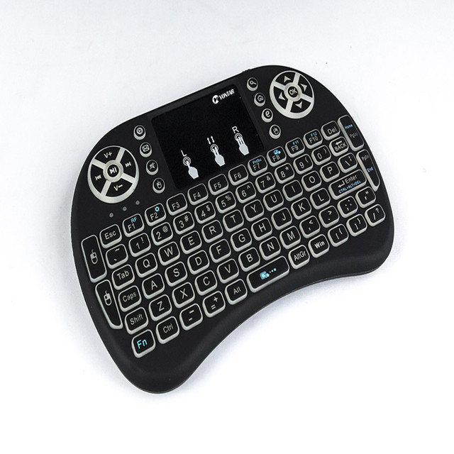 VONTAR i8 keyboard backlit English Russian Spanish Air Mouse 2.4GHz Wireless Keyboard Touchpad Handheld for TV BOX Android X96 4