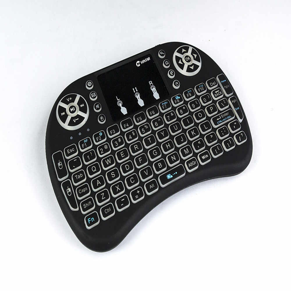 71c90fc8aff ... VONTAR i8 keyboard backlit English Russian Spanish Air Mouse 2.4GHz  Wireless Keyboard Touchpad Handheld for ...