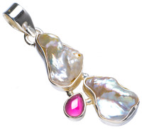 Natural Biwa Pearl and Amethyst Handmade Unique 925 Sterling Silver Pendant 1.75 X1091