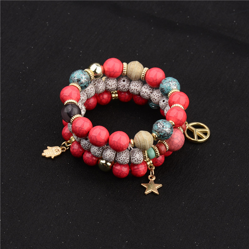 3pcs/set Women's Fashion Jewelry Bracelet Sets Boho Multicolor Multilayer Acrylic Beads Beach Elastic Bracelets Wholesale Gifts