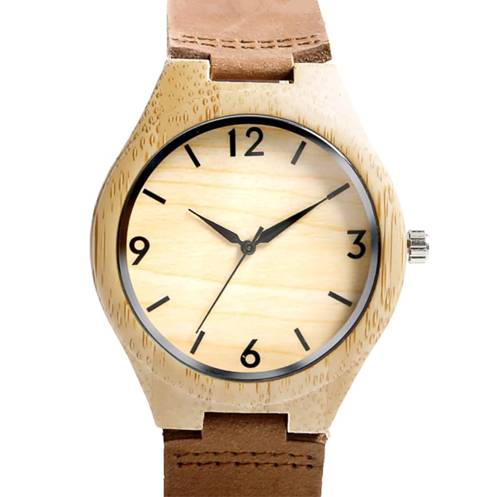 PENGNATATE Wood Leather Strap Watches Men Bracelet Quartz Clock Natural Bamboo Wooden Wristwatch Male Gifts Sport Watch For Man hand made mens wooden bamboo quartz watch black genuine leather watchband simple unique modern wristwatch gift for male female