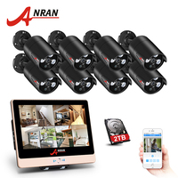 ANRAN 8CH Video Surveillance System 12 Inch LCD Monitor POE NVR CCTV Kit With 8 1080P