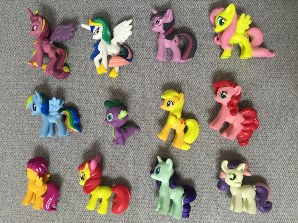 12pcs/set Plastic Horses Cute Patrolled PVC Unicorn Toys For Birthday Christmas Doll Gift Horse Toy Dolls For Children Toys 6pcs set earth ponies action figures toy 3 5cm cute pvc horse pony unicorn pegasus figure dolls toys for children sl049