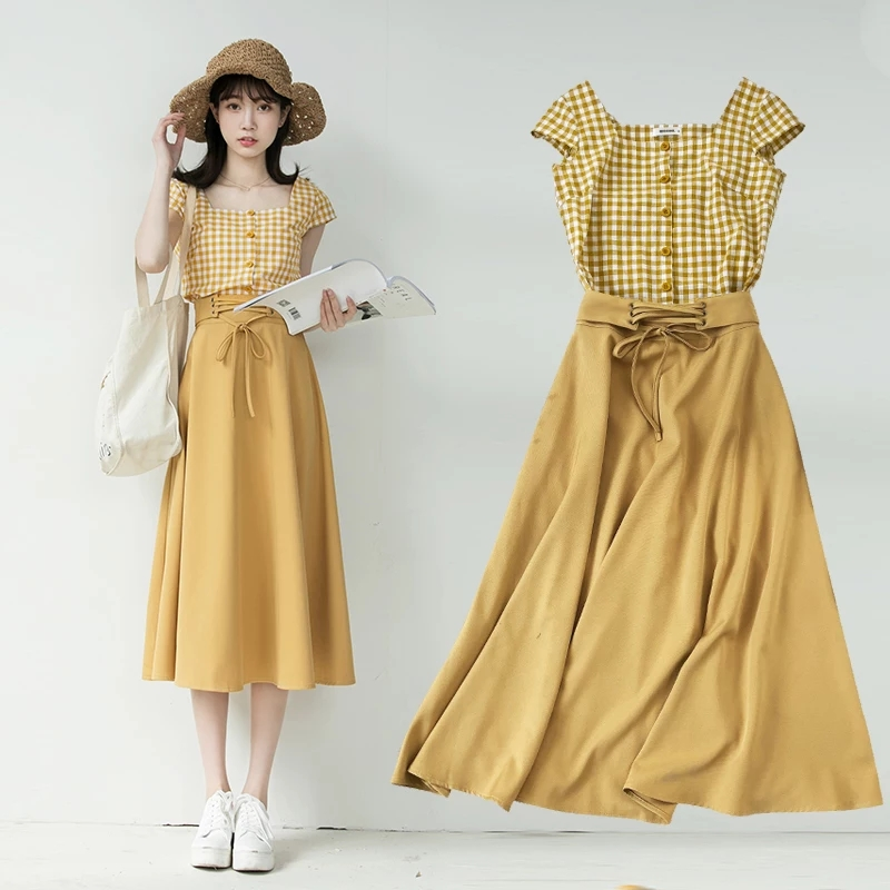 Chic Fashion Two-piece Casual Suits Female Summer 2018 Women Yellow Red Plaid T Shirt A Line Skirt Sets Retro Midi Skirt Suits 15