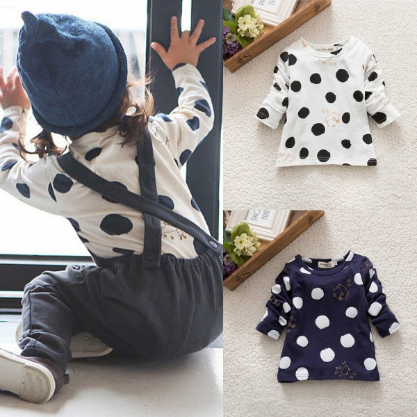 Kids-Baby-Girls-Boys-Unisex-Polka-Dots-Long-Sleeve-Tops-T-Shirt-Cotton-Basic-Tees-Clothing-1