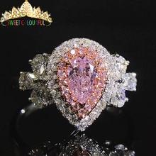 Обручальное кольцо с розовым муассанитом и бриллиантом, Настоящее 18 К 750 Белое золото D Цвет VVS MO-0012