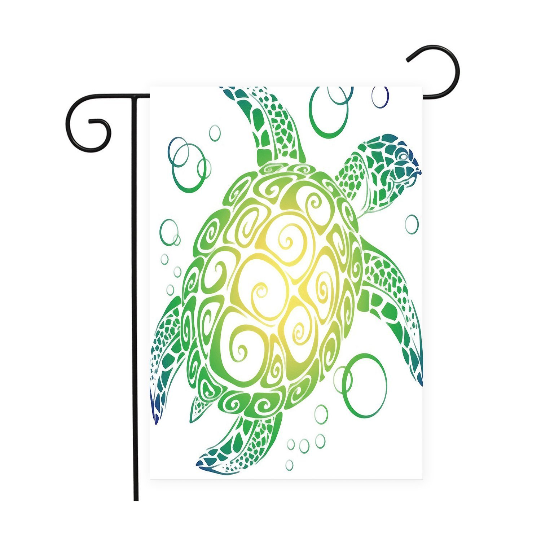 Gradient Sea Turtle Garden Flags House Decor Mini Yard Banner,100% Polyester