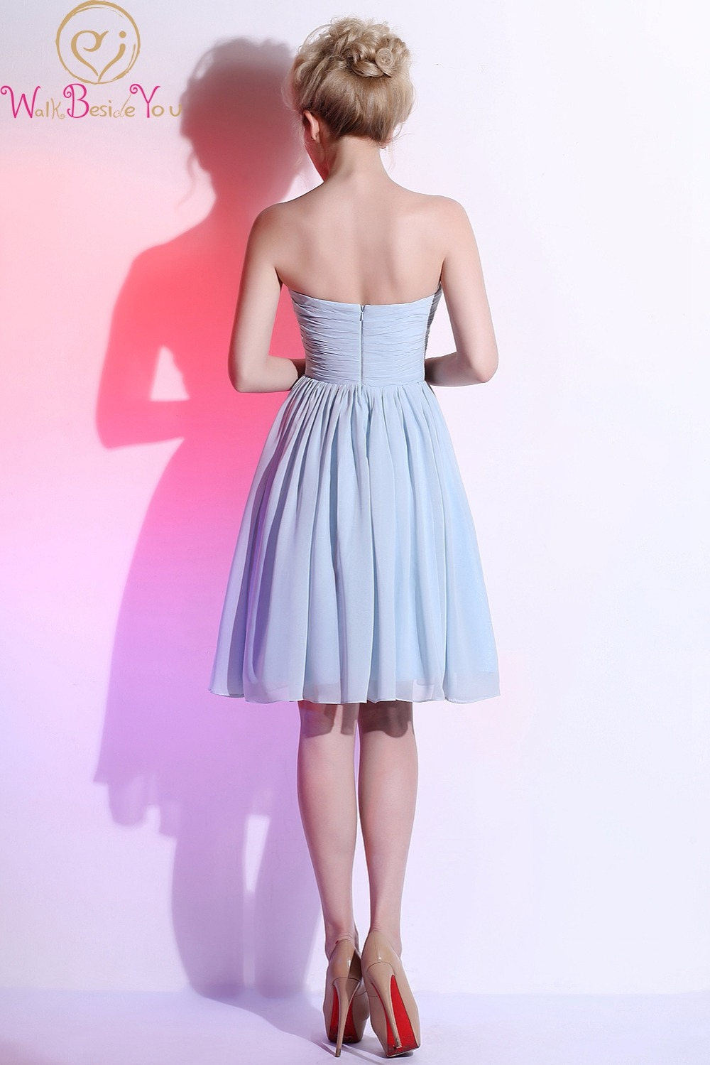 Light Blue Short Bridesmaid Dresses Strapless with Floral Chiffon A ...
