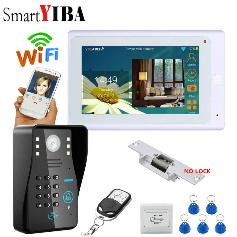 SmartYIBA Video Intercom 7 Inch Monitor Wifi Wireless Video Door Phone Doorbell Camera Intercom System APP+Electric lock