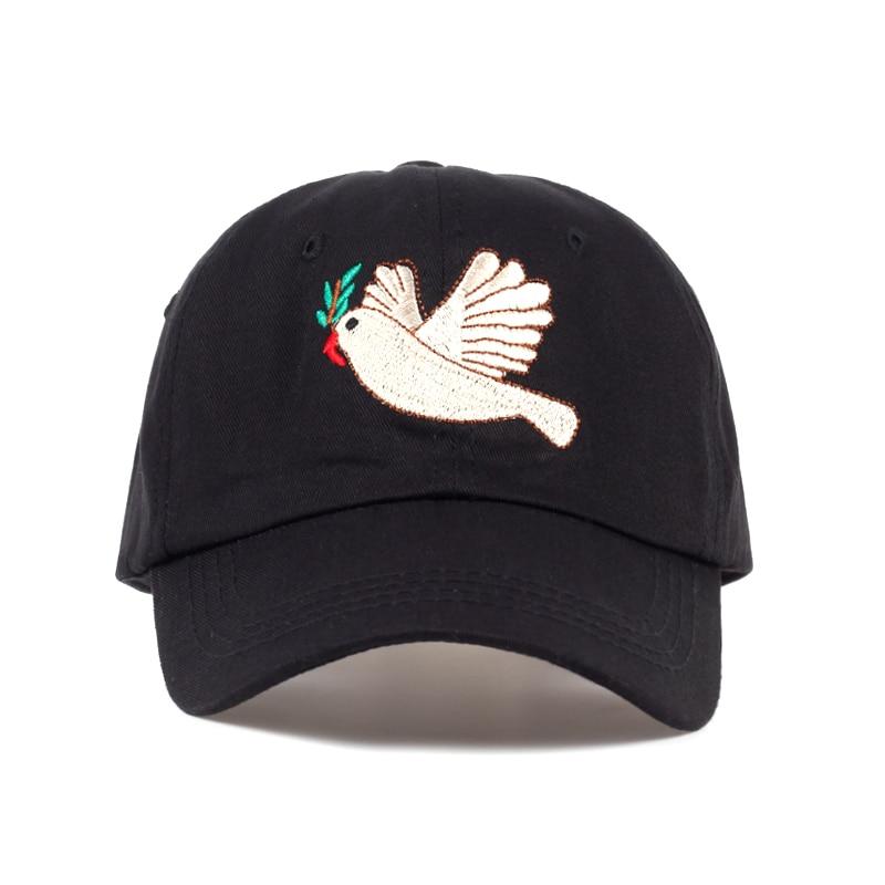 2017 New Peace Dove Cartoon Cap Women Baseball Caps Fashion Dad Hats Black Casual Cap cappello donna hip hop Hats