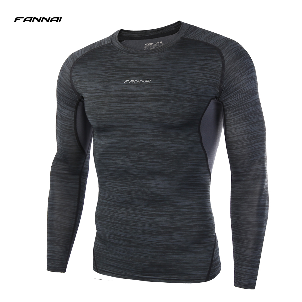 Men Compression Shirt FANNAI Fitness Long Sleeve Casual Tee Shirts Base Layer Skin Tight Clothes Thermal
