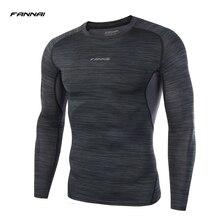 Мужская рубашка сжатия fannai Фитнес длинным рукавом Повседневные футболки базовый слой кожи жесткие одежда тепловой мышц футболки M-XXXL