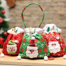 цена на 1Pc Cartoon Christmas Gift Bags Red Green Santa Claus Snowman Pattern Bags for Christmas Presents Xmas New Year Gifts Cloth Bag