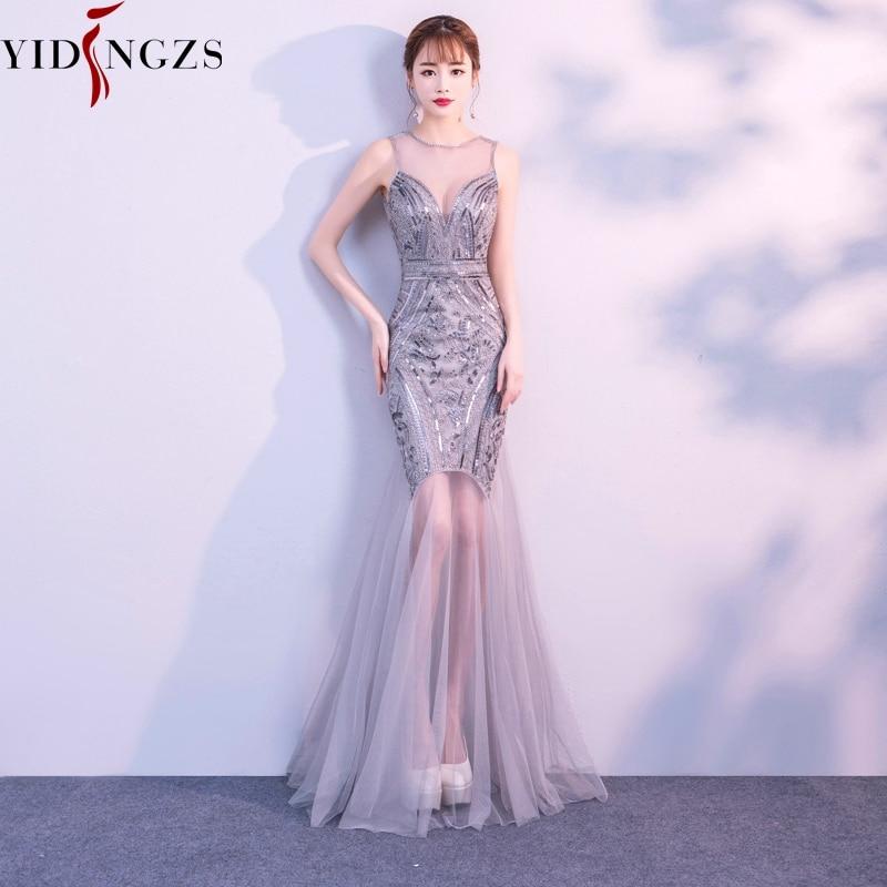 25734cf15b6d Robe De Soiree YIDINGZS Sequins Beading Evening Dresses Mermaid Long Formal  Prom Party Dress 2019 New Style