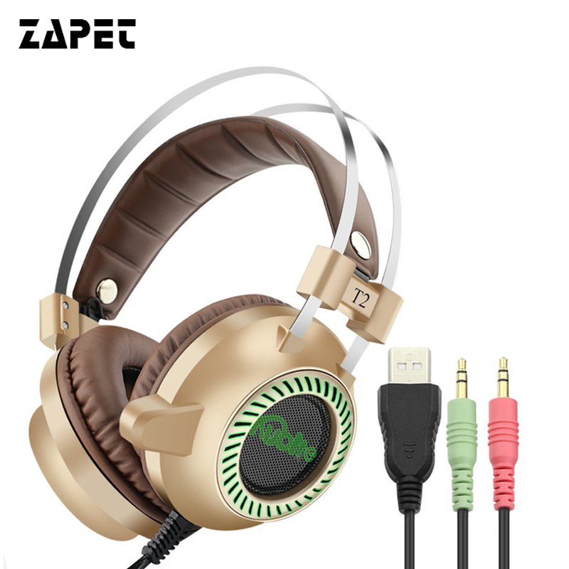 ZAPET T2 Gaming Headphones PC Computer Headsets casque 7.1 Surround Sound Stereo USB Game Headset with Mic Breathing LED Lights usb 7 1 surround sound vibration stereo led gaming headsets headphone with mic for pc games