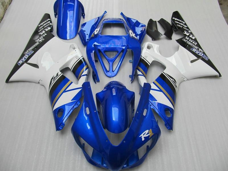 все цены на High quality plastic Fairing kit for Yamaha YZF R1 98 99 white blue fairings set YZFR1 1998 1999 OT15