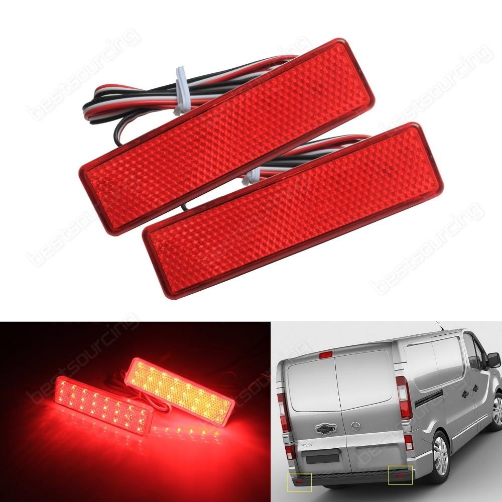 2x LED Rear Bumper Reflector Brake Stop Tail Light For Opel / Vauxhall Vivaro Movano A (CA326) накладка на задний бампер opel vivaro 2001