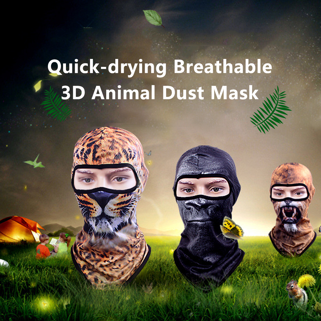 Quick Dry Bicycle Bike Breathable Windproof Animal Balaclava Hats Cartoon Skull Full Face Mask Neck Helmet   Beanies   Scarf