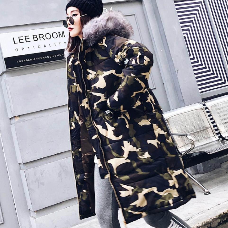 Winter Fashion Big Fur Collar Down Cotton Coat Camouflage Jacket   Parkas   Women Thicker Warm Overcoat Cotton-padded Outwear L1733