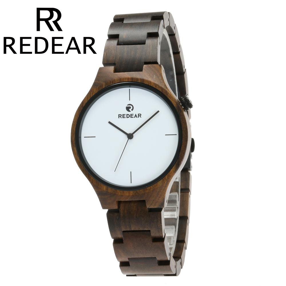 REDEAR Wooden Watches Unisex Natural All Ebony Wood Watch for Men and Women Japanese Movement Wristwatches with Gift Box redear vintage full wood wrist watches men watch ebony bamboo wooden watches wood strap men s watch japanese movement clock saat