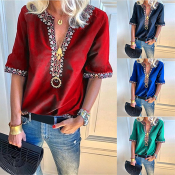 100% silk blouse women lightweight fabric striped printed plus o neck ruffles half sleeves loose casual tops new fashion 2017 New Fashion Women V Neck Short Sleeve Shirts Lady Summer Casual Loose Tops Plus Size Blouse