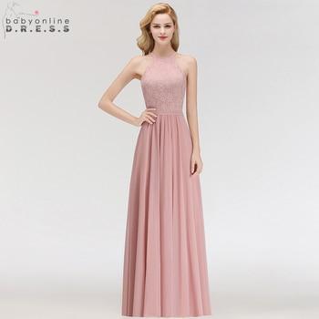 eea1a79e4d50d Babyonline Halter Dantel Şifon Gelinlik modelleri 2019 Örgün Düğün Parti  Elbiseler Kadınlar Için elbise robe demoiselle d 'honneur