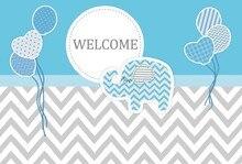 Laeacco Cartoon Elephant Balloon Scene Baby Shower Photography Backgrounds Customized Photographic Backdrops For Photo Studio