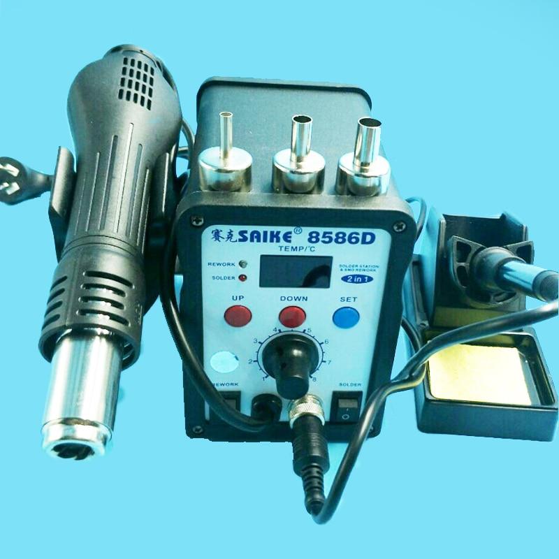 цена на Hot Sell Genuine Digital Display 2 in 1 220V SAIKE 8586D Rework Station hot air gun soldering station+solder Iron