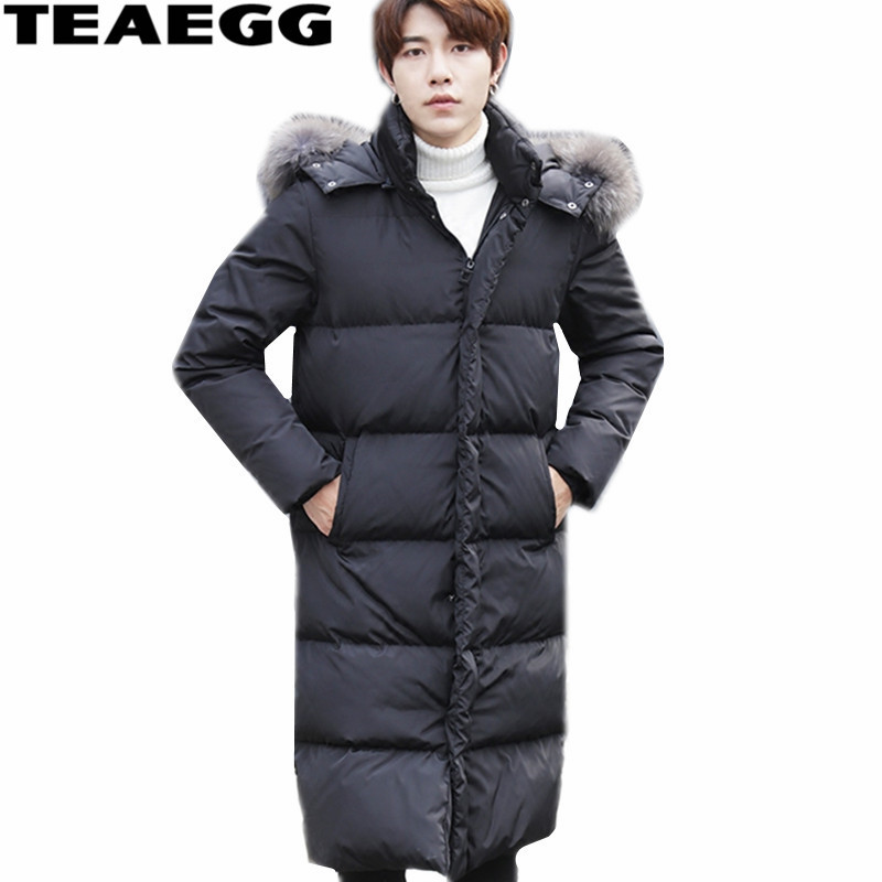 TEAEGG Big Natural Winter Jacket Men Fur Collar Plus Size 5XL 6XL Black Warm Long Mens Down Jacket With Hood Parka Coats AL410