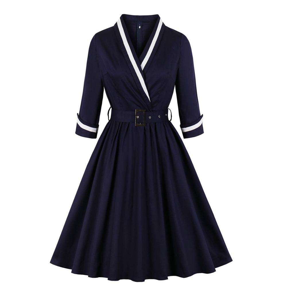 Woman 3/4 Quarter Sleeves Wrap Surplice V Neck Autumn Winter Dress Navy Sailor Dress Halloween Office Lady Work Vintage Dress