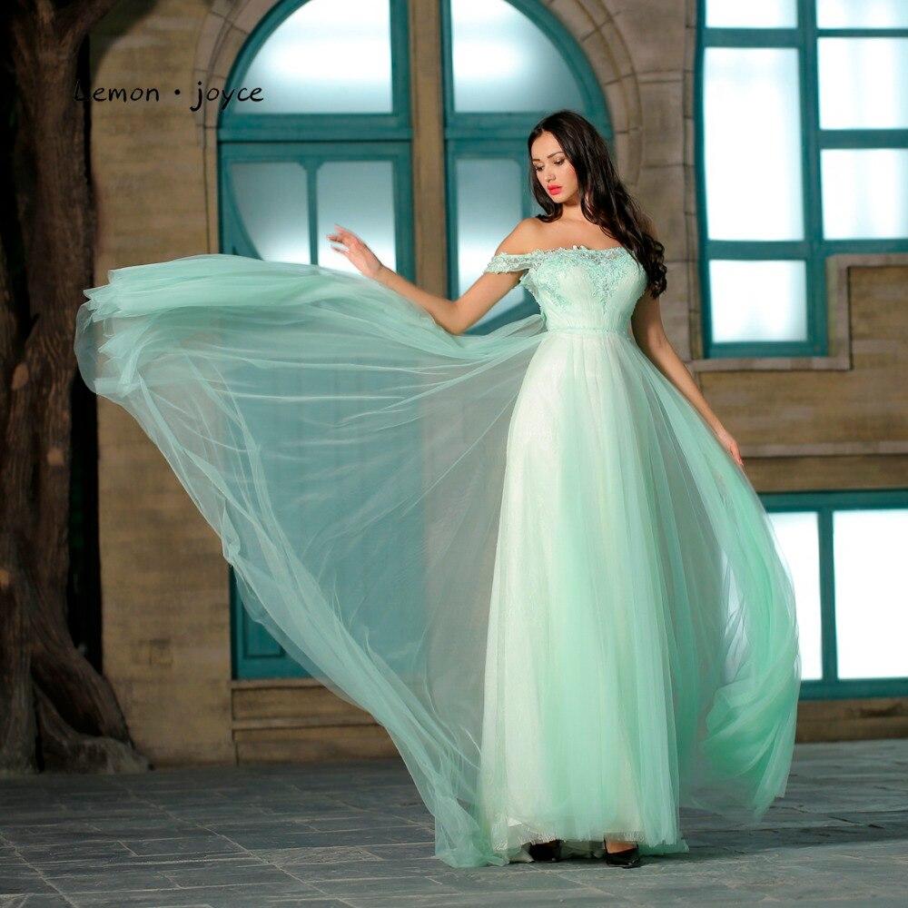 af67853e401 Lemon joyce Elegant Green Prom Dresses Long 2019 Sexy Off the Shoulder  Simple Appliques Evening Party Gowns Plus Size