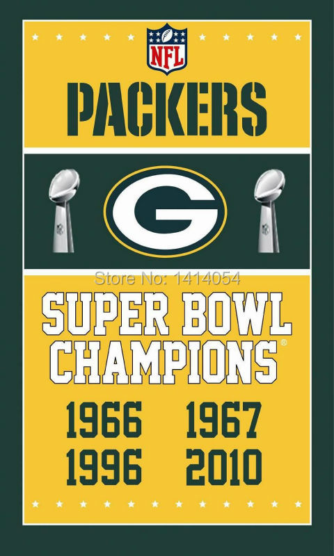 ②Green Bay Packers Super Bowl campeones bandera 150x90 cm banner ...