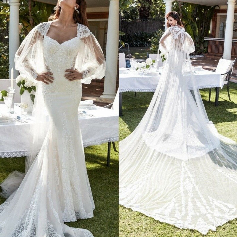 2019 Long Sleeves Bridal Jackets Bolero Custom Made Lace Appliques Sweep Train Wedding Cape Wraps Shawls