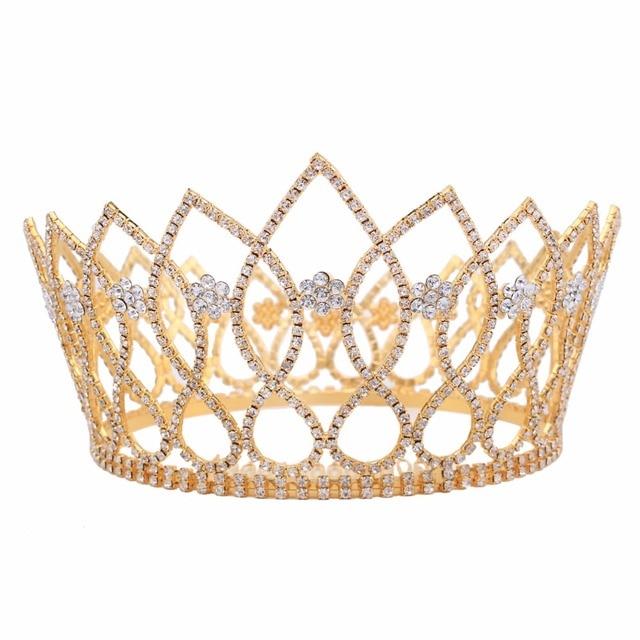 4.2inch Height Luxury Bridal Crystal Tiara Crowns Princess Queen Pageant  Prom Rhinestone Tiara Headband Wedding Hair Accessory 047ef3895953