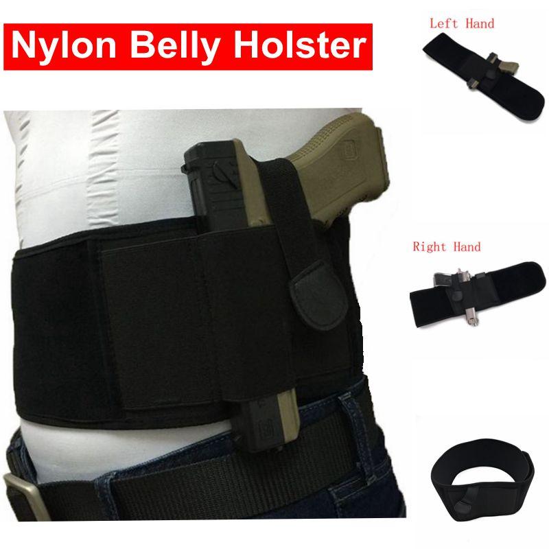 Nylon Ventre Bande Pistolet Gun Holster Droite/Gauche Main Réglable Caché Portez Ceinture Holster Convient pour Glock 17 19 beretta 92 M9