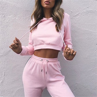 Women's Tracksuits 2 Piece Set Pink Crop Top And Pants Fashion 2018 Autumn Casual Lady Tumblr Long Sleeve Hoodies Pants Suit 2