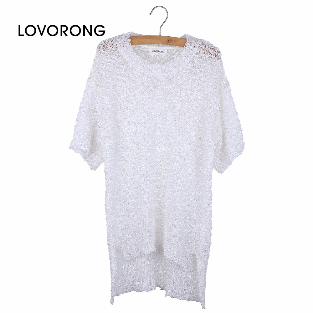 Design your own t-shirt front and back - Lovorong Women Hollow Out T Shirt Tops Fashion Front Short Back Long Personality Irregular Popular White T Shirt Clothing Kb1750