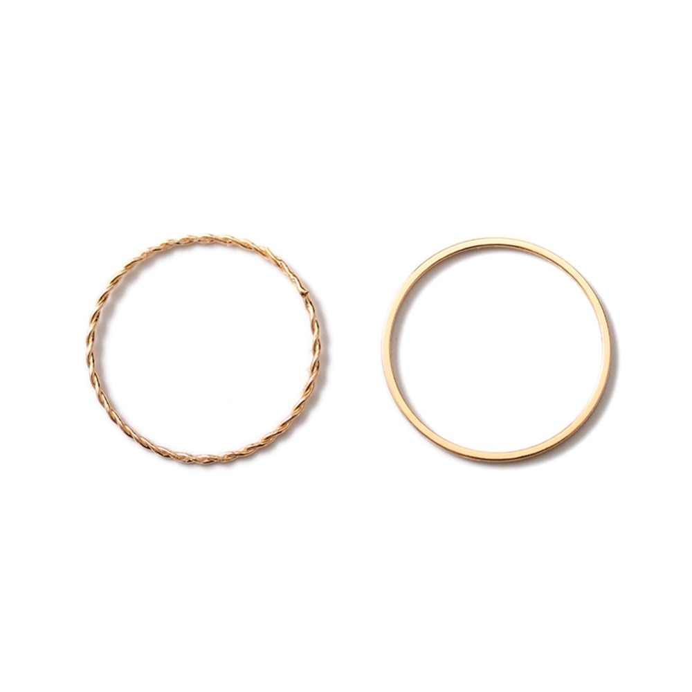 Tipis Slim Rose Gold Susun Wanita Set Kecil Jari Midi Jari Cincin Sederhana Desain Fashion Perhiasan Cincin untuk Wanita